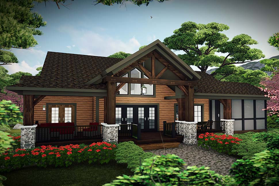 Cabin , Craftsman House Plan 75460 with 3 Beds, 3 Baths Rear Elevation