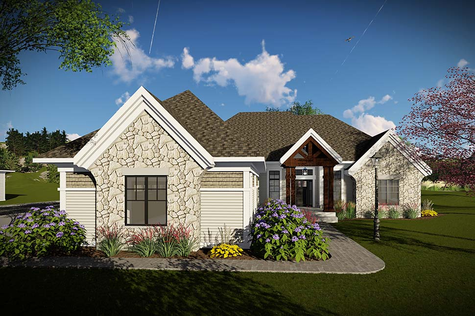 Craftsman, Ranch, Traditional House Plan 75462 with 3 Beds, 3 Baths, 3 Car Garage Picture 1