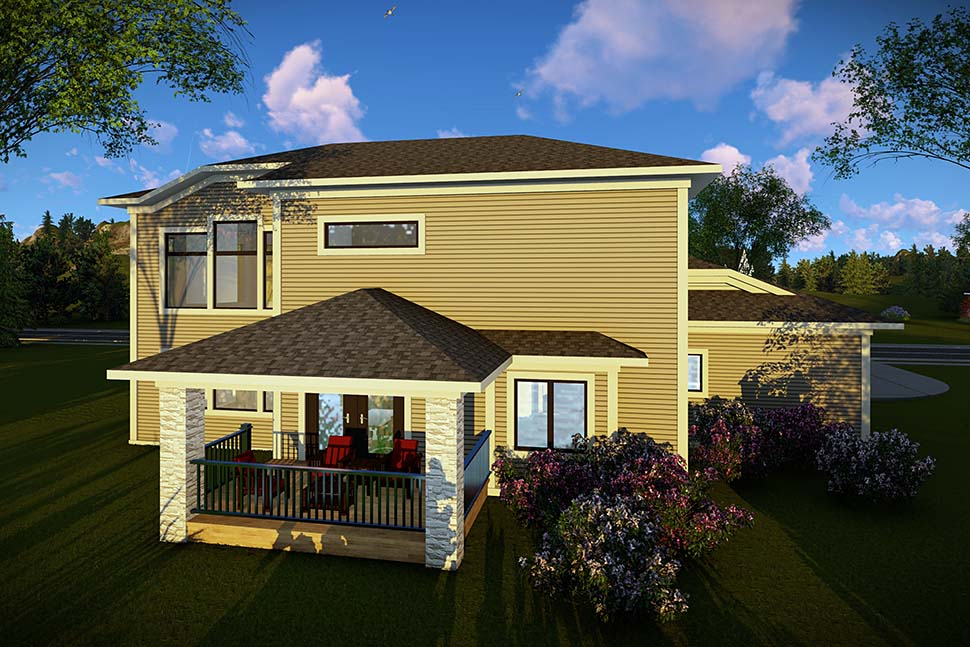 Contemporary, Modern House Plan 75464 with 3 Beds, 3 Baths, 3 Car Garage Rear Elevation