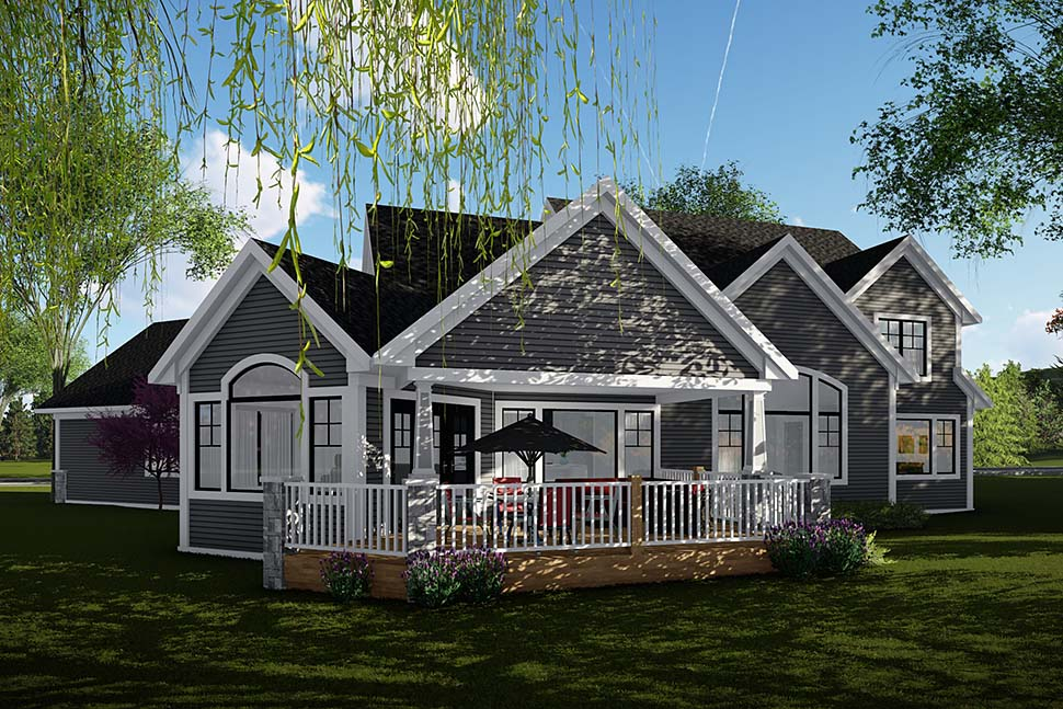 House Plan 75465 | Craftsman Traditional Style Plan with 3792 Sq Ft, 4 Bedrooms, 4 Bathrooms, 3 Car Garage Rear Elevation