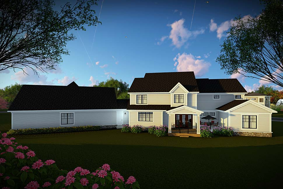 House Plan 75466 | Country Farmhouse Southern Style Plan with 4724 Sq Ft, 5 Bedrooms, 6 Bathrooms, 4 Car Garage Rear Elevation