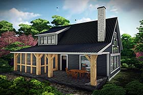 Cabin House Plan 75467 with 1 Beds, 1 Baths Elevation