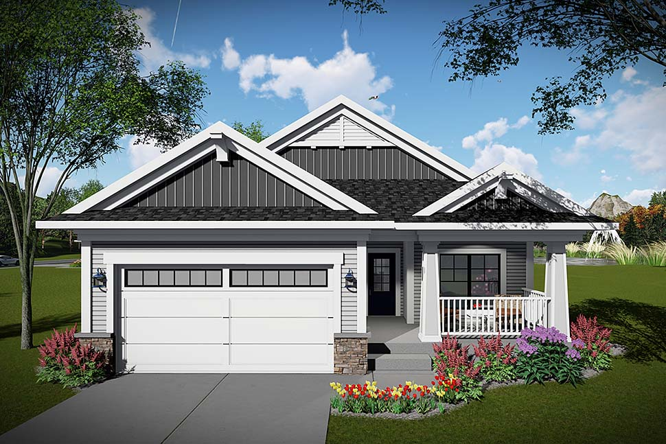 Craftsman, Ranch House Plan 75468 with 2 Beds, 2 Baths, 2 Car Garage Elevation