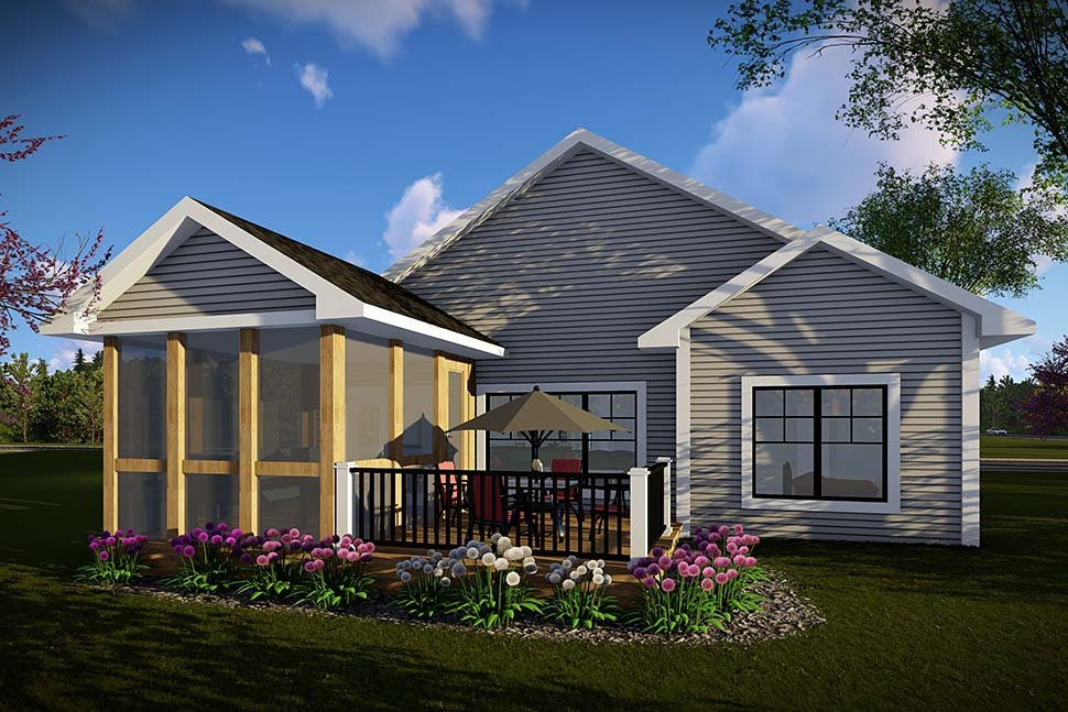 Craftsman, Ranch House Plan 75468 with 2 Beds, 2 Baths, 2 Car Garage Rear Elevation