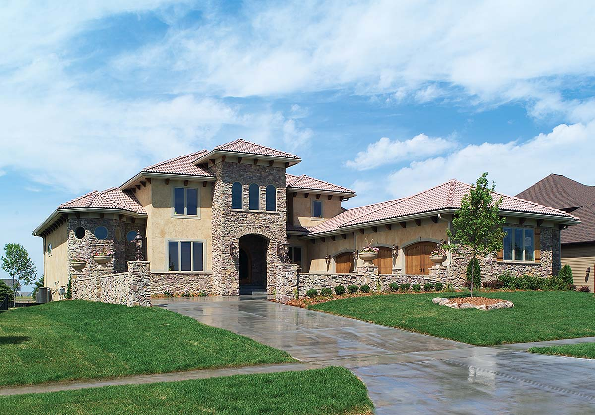 Mediterranean, Southwest, Tuscan House Plan 75469 with 4 Beds, 4 Baths, 3 Car Garage Elevation