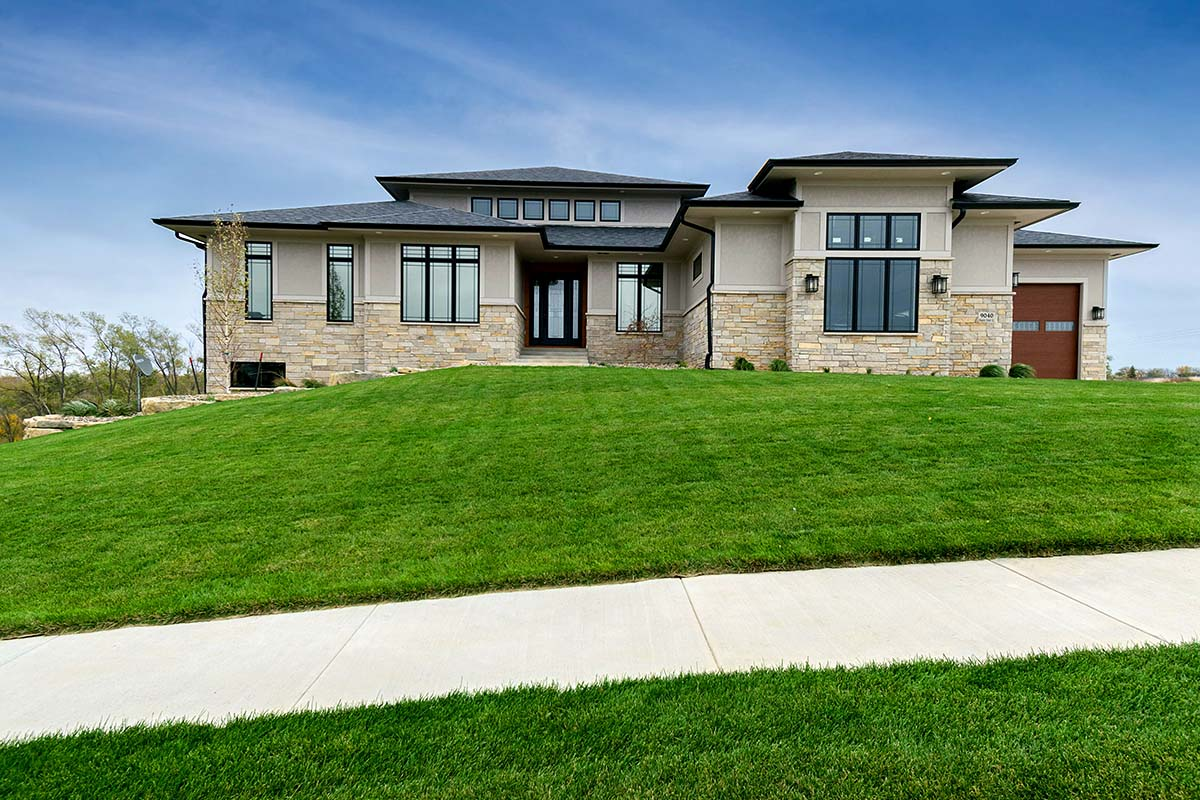 Contemporary, Modern, Prairie Style House Plan 75483 with 4 Beds, 5 Baths, 4 Car Garage Elevation