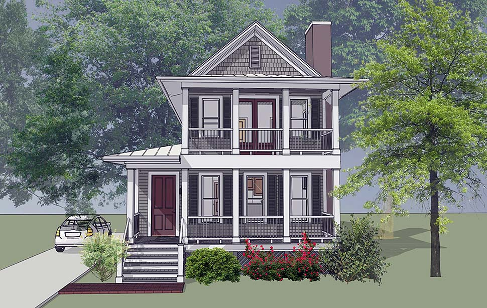 Colonial , Southern House Plan 75500 with 3 Beds, 3 Baths Elevation