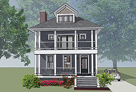 Colonial , Southern House Plan 75501 with 3 Beds, 3 Baths Elevation