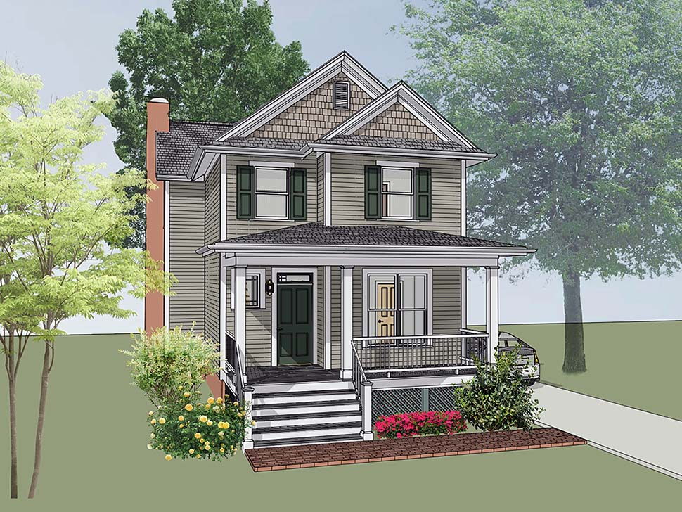 Southern , Colonial House Plan 75502 with 4 Beds, 3 Baths Elevation