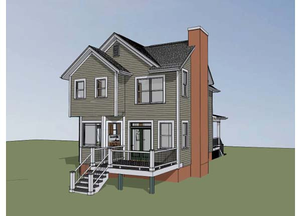 Southern , Colonial House Plan 75502 with 4 Beds, 3 Baths Rear Elevation