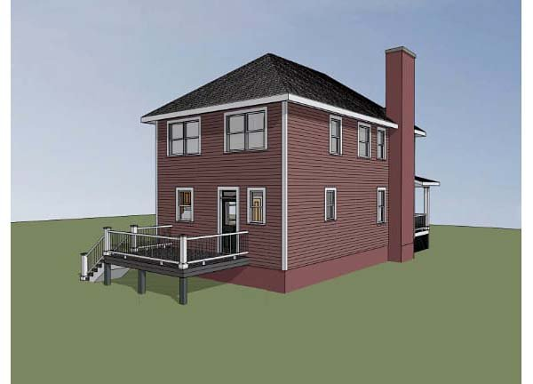 Southern , Colonial House Plan 75503 with 3 Beds, 3 Baths Rear Elevation