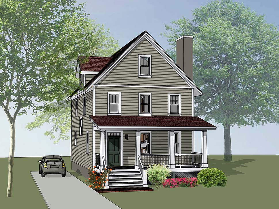 Colonial Cottage Southern Elevation of Plan 75505