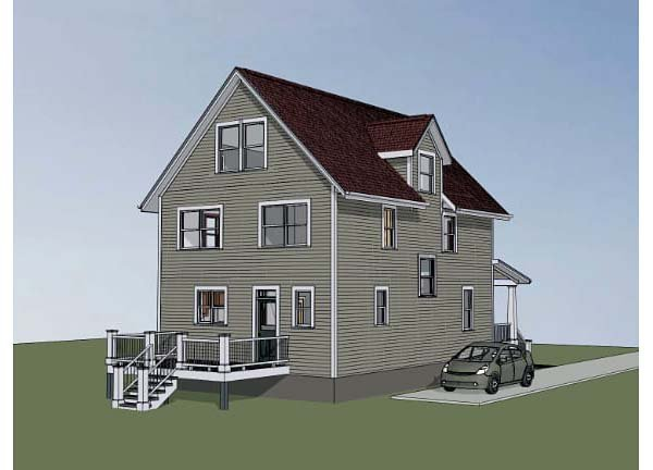 Colonial Cottage Southern Rear Elevation of Plan 75505