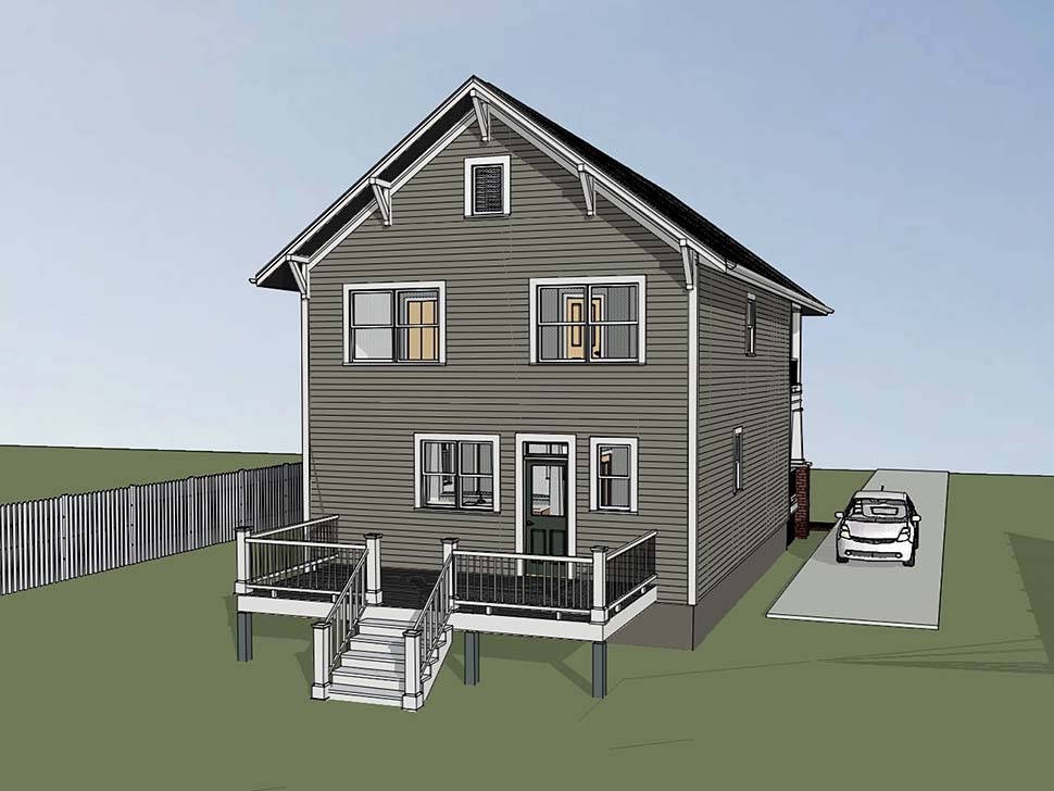 Craftsman , Colonial , Bungalow House Plan 75509 with 3 Beds, 3 Baths Rear Elevation