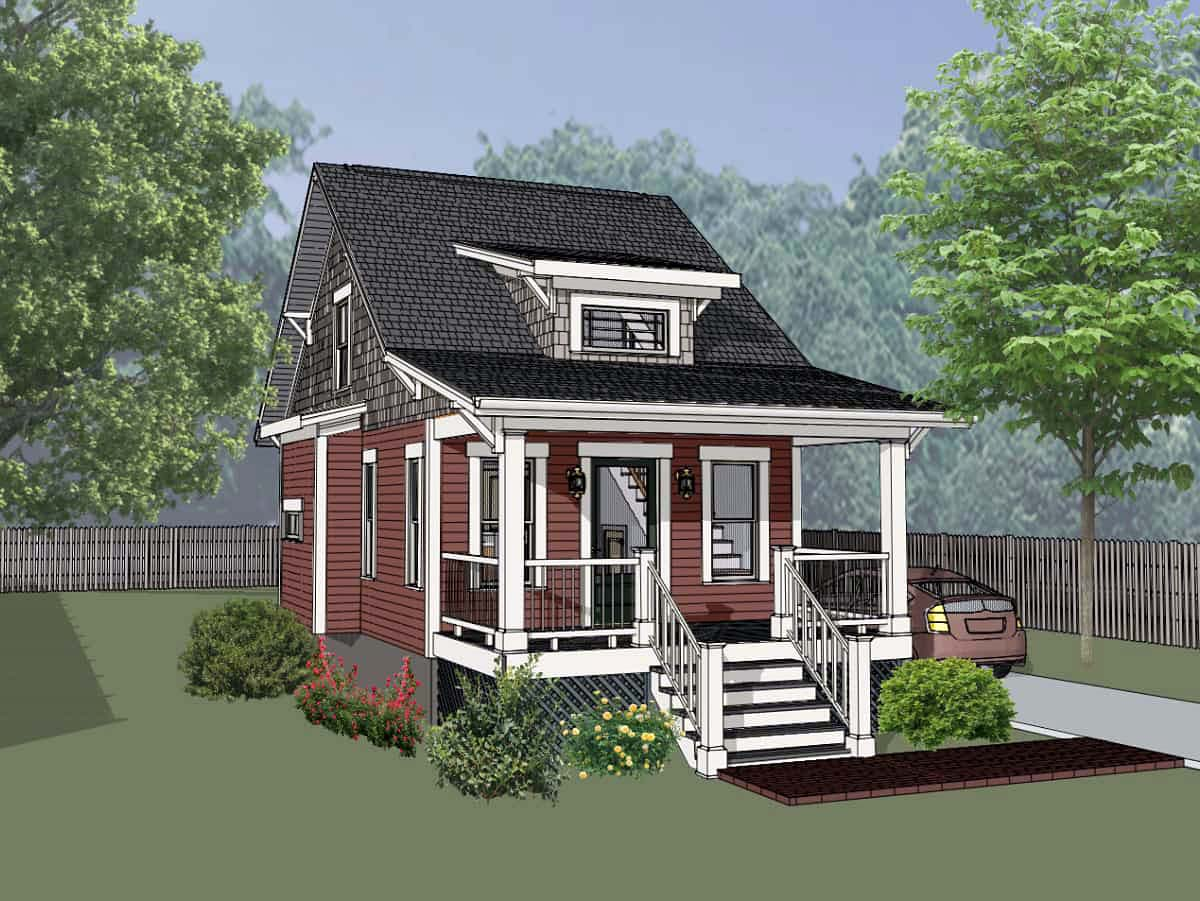 Cottage , Country House Plan 75510 with 1 Beds, 1 Baths Elevation