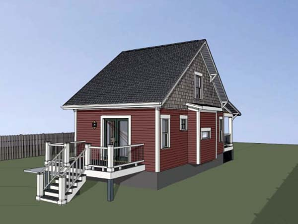 Cottage , Country House Plan 75510 with 1 Beds, 1 Baths Rear Elevation
