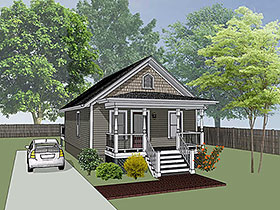 Bungalow , Colonial , Cottage House Plan 75512 with 2 Beds, 1 Baths Elevation