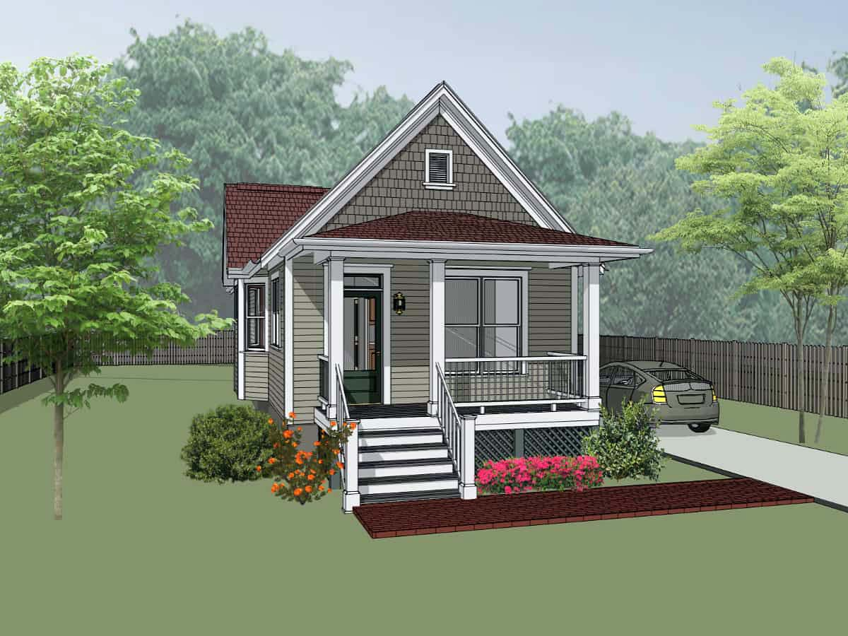 Colonial Cottage Southern Elevation of Plan 75515