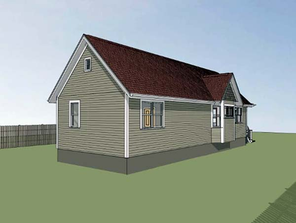 Colonial Cottage Southern Rear Elevation of Plan 75515