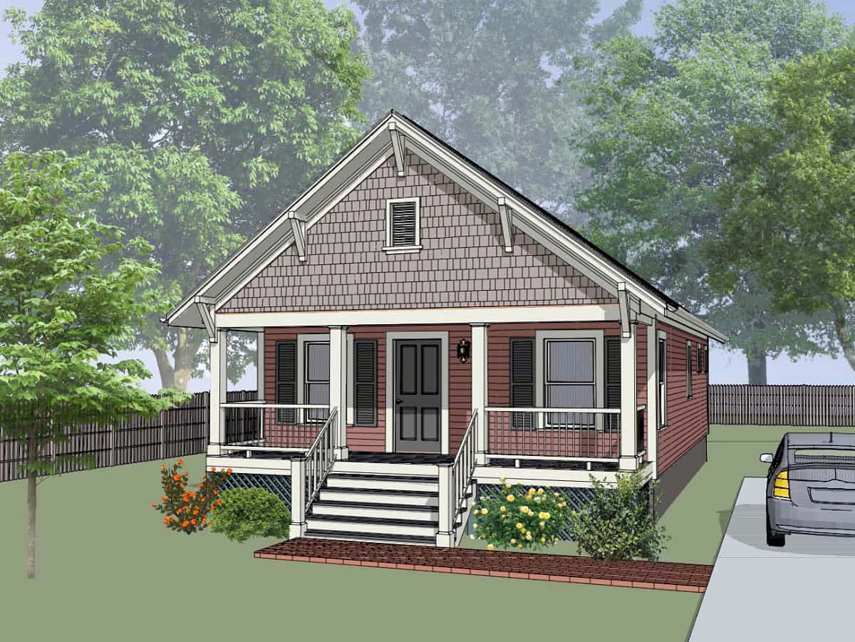 Bungalow House Plan 75516 with 2 Beds, 1 Baths Elevation