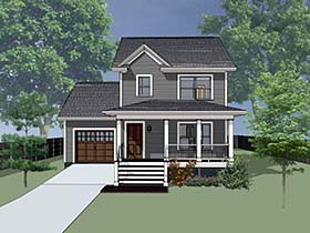 Southern , Country , Colonial House Plan 75520 with 3 Beds, 3 Baths, 1 Car Garage Elevation