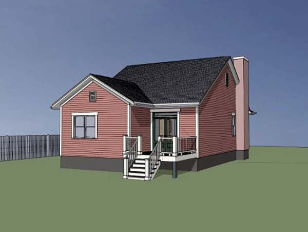 Bungalow , Cottage House Plan 75521 with 2 Beds, 2 Baths, 1 Car Garage Rear Elevation
