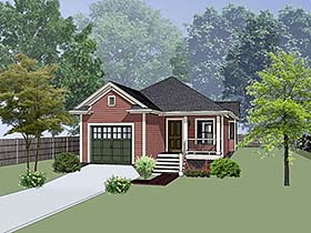 Bungalow , Cottage House Plan 75528 with 3 Beds, 2 Baths, 1 Car Garage Elevation