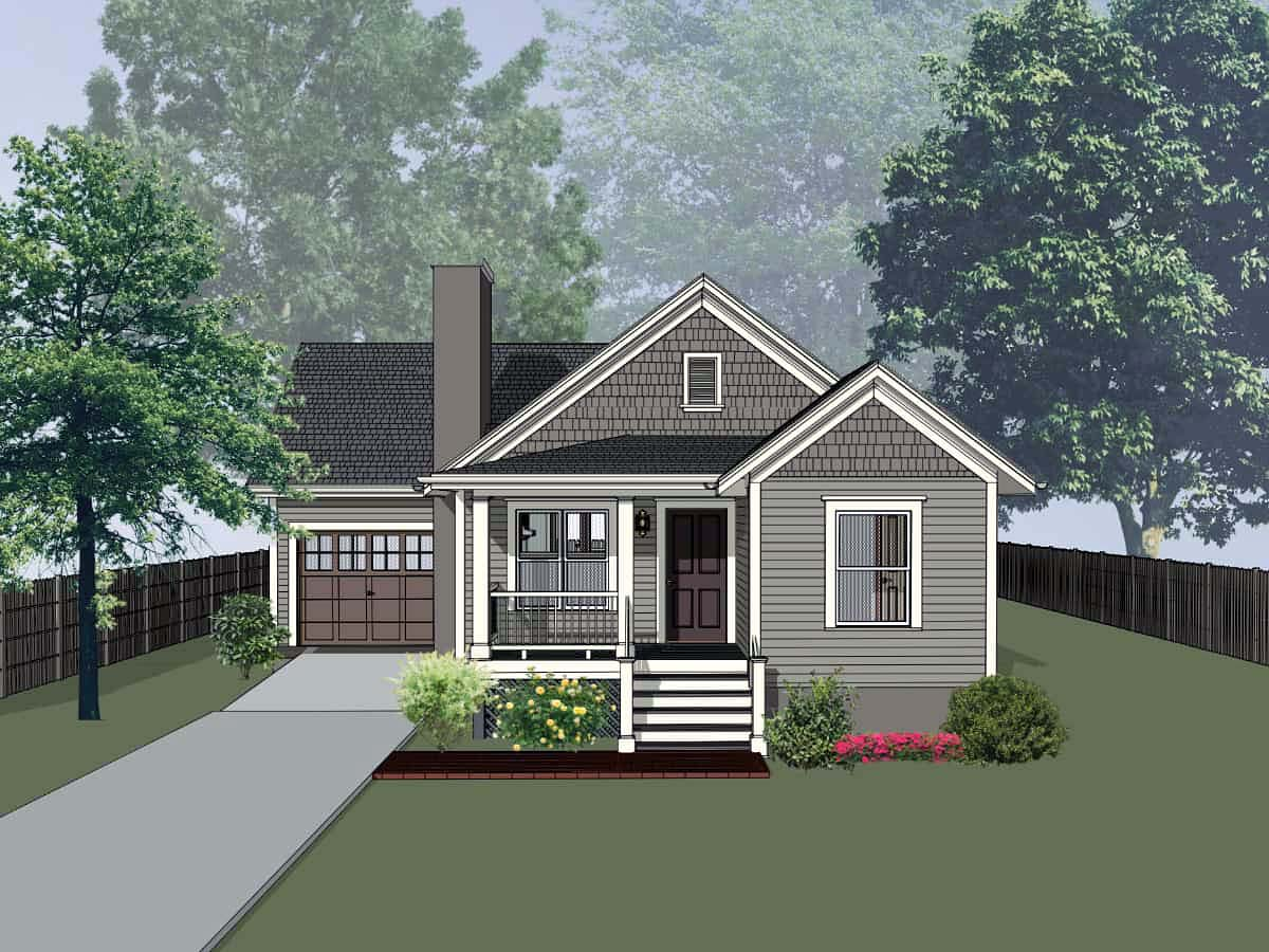 Bungalow , Cottage House Plan 75529 with 4 Beds, 2 Baths, 1 Car Garage Elevation