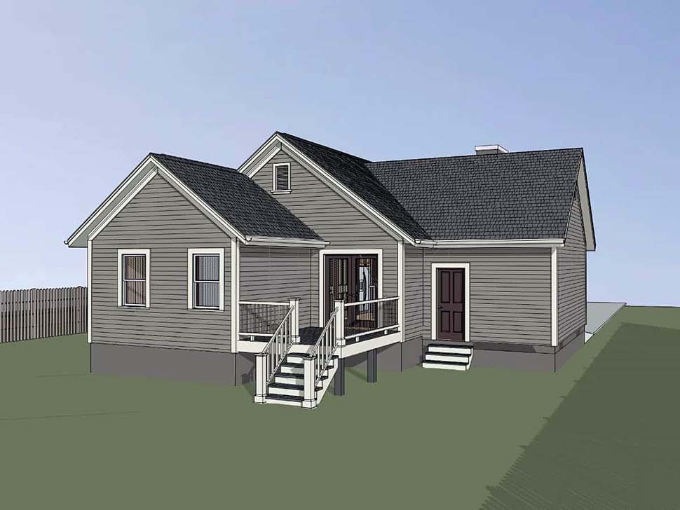 Bungalow , Cottage House Plan 75529 with 4 Beds, 2 Baths, 1 Car Garage Rear Elevation