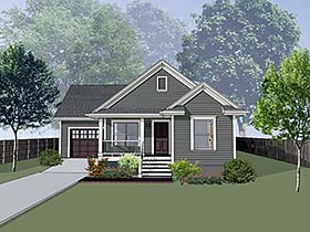 Cottage , Bungalow House Plan 75530 with 4 Beds, 2 Baths, 1 Car Garage Elevation