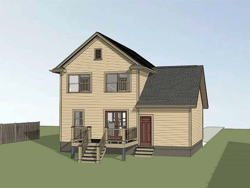 Colonial , Country House Plan 75532 with 3 Beds, 3 Baths, 1 Car Garage Rear Elevation
