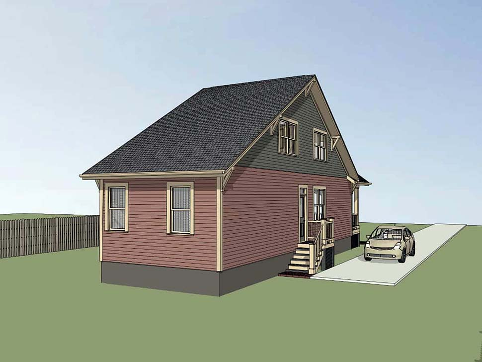 Country , Cottage House Plan 75533 with 3 Beds, 2 Baths Rear Elevation