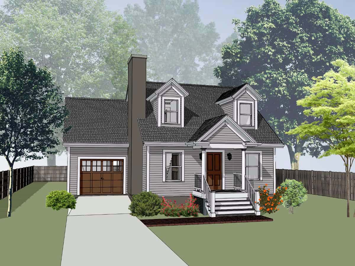 Bungalow House Plan 75534 with 3 Beds , 2 Baths , 1 Car Garage Elevation