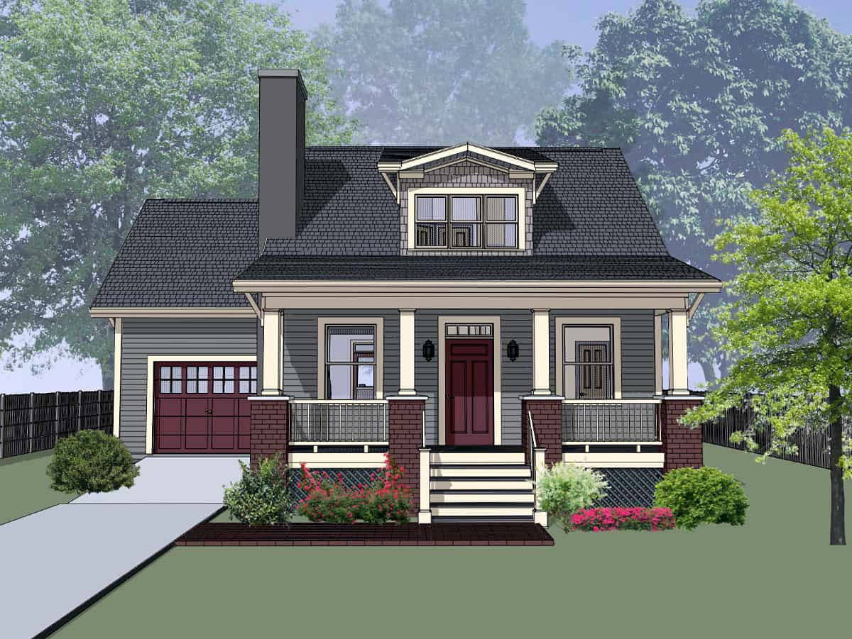 Bungalow, Craftsman House Plan 75535 with 3 Beds, 2 Baths, 1 Car Garage Front Elevation