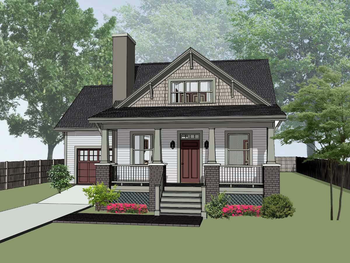 Bungalow, Cottage House Plan 75536 with 3 Beds, 2 Baths, 1 Car Garage Elevation