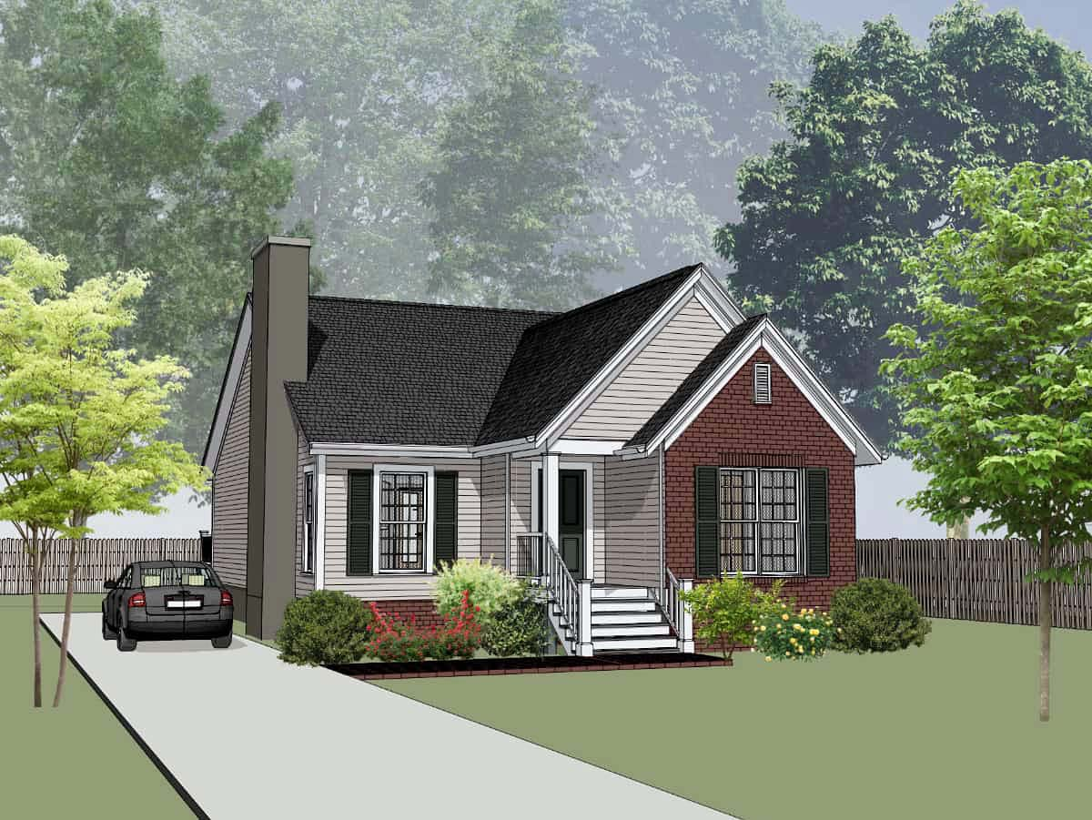 Bungalow , Cottage , Elevation of Plan 75538