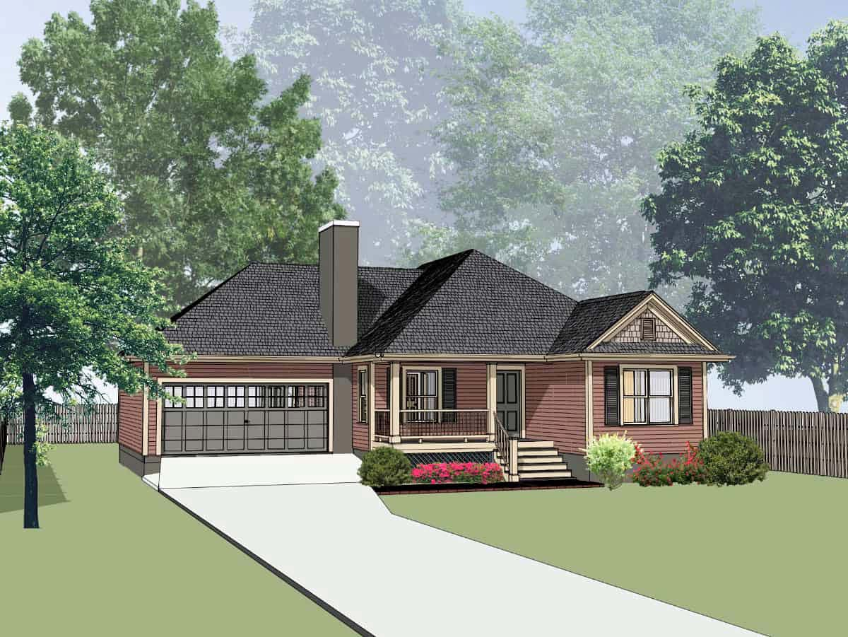 Cottage, Traditional House Plan 75539 with 3 Beds, 2 Baths, 1 Car Garage Elevation