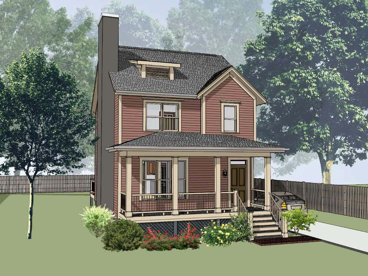 Colonial , Country , Southern , Elevation of Plan 75541