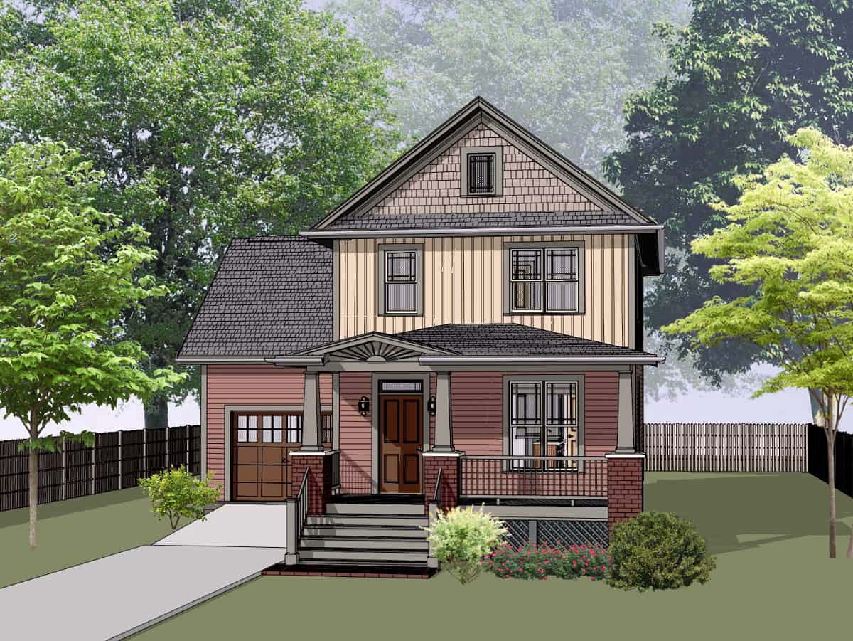 Bungalow, Craftsman House Plan 75544 with 3 Beds, 3 Baths, 1 Car Garage Front Elevation