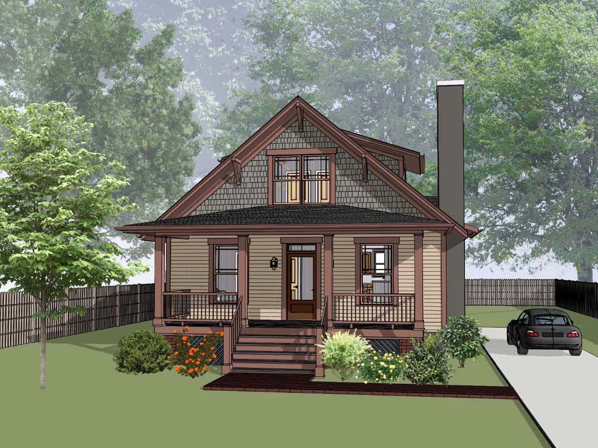 Bungalow House Plan 75545 with 3 Beds , 3 Baths Elevation