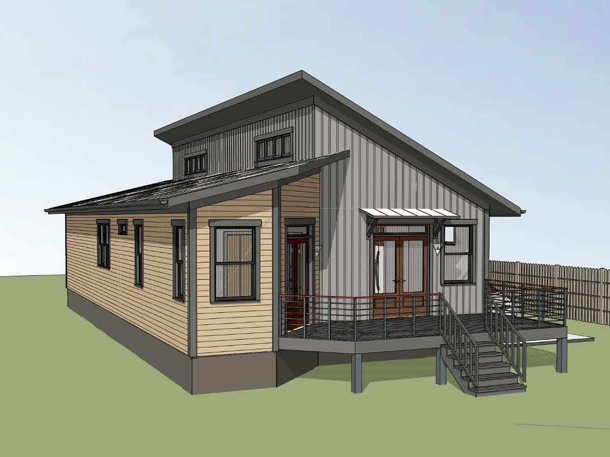 Contemporary House Plan 75550 with 3 Beds, 2 Baths Rear Elevation
