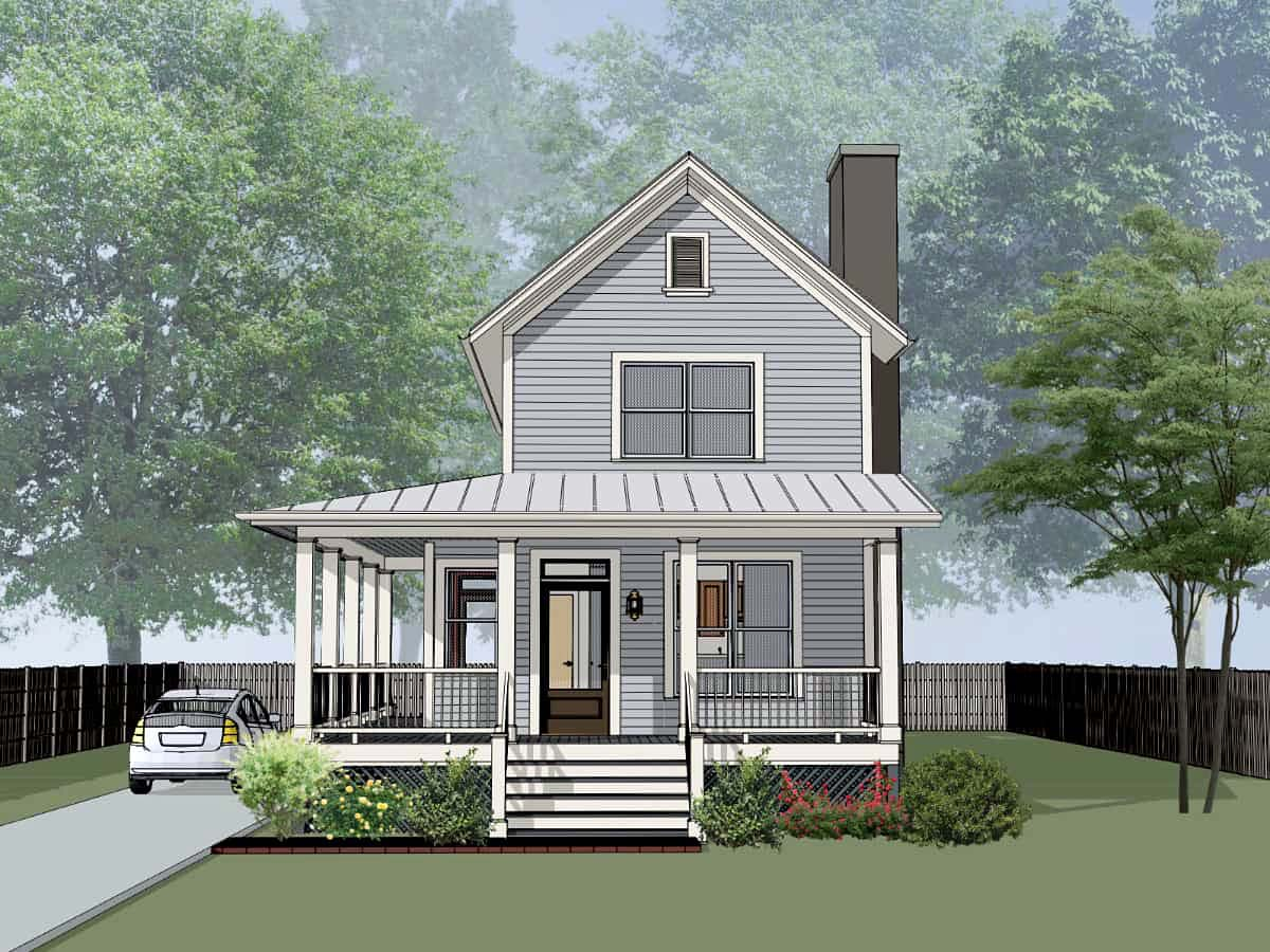 Colonial, Country, Southern House Plan 75555 with 3 Beds, 2 Baths Elevation