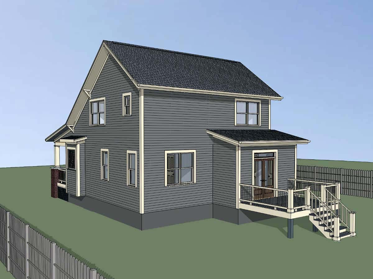 Bungalow, Cottage House Plan 75556 with 4 Beds, 2 Baths Rear Elevation