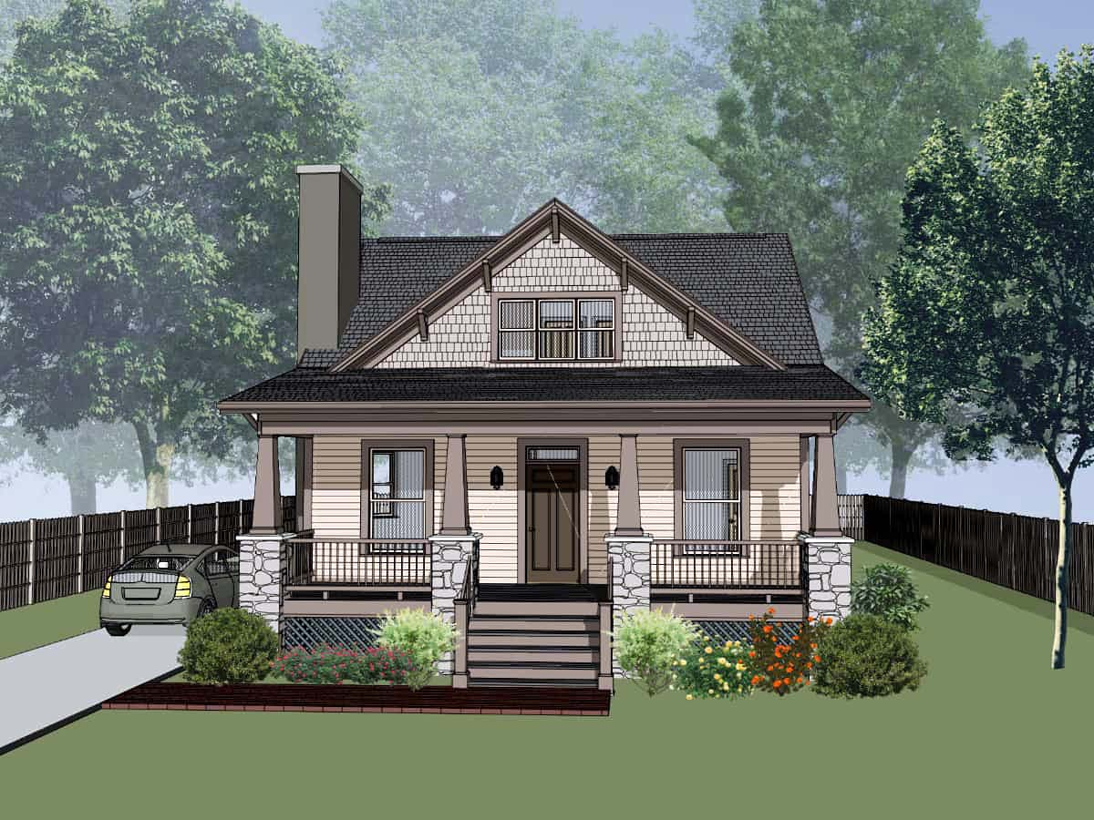 Bungalow, Cottage, Craftsman House Plan 75562 with 3 Beds, 2 Baths Elevation