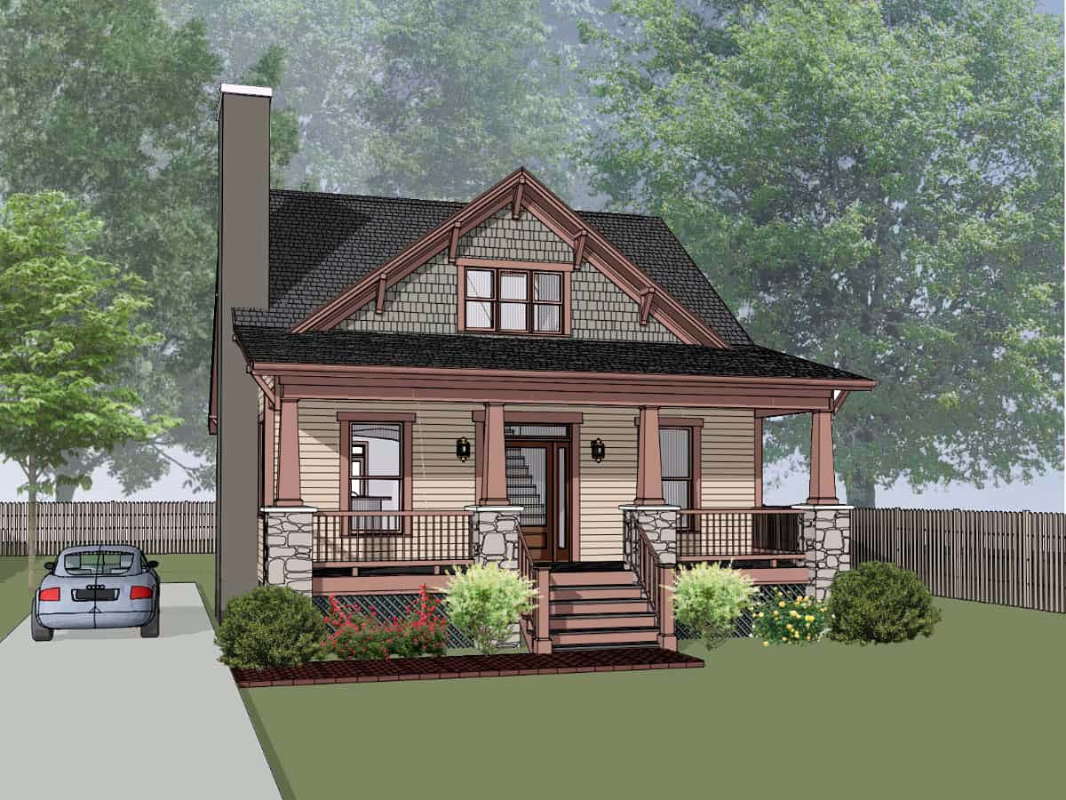 Bungalow, Cottage, Craftsman House Plan 75576 with 3 Beds, 3 Baths Front Elevation