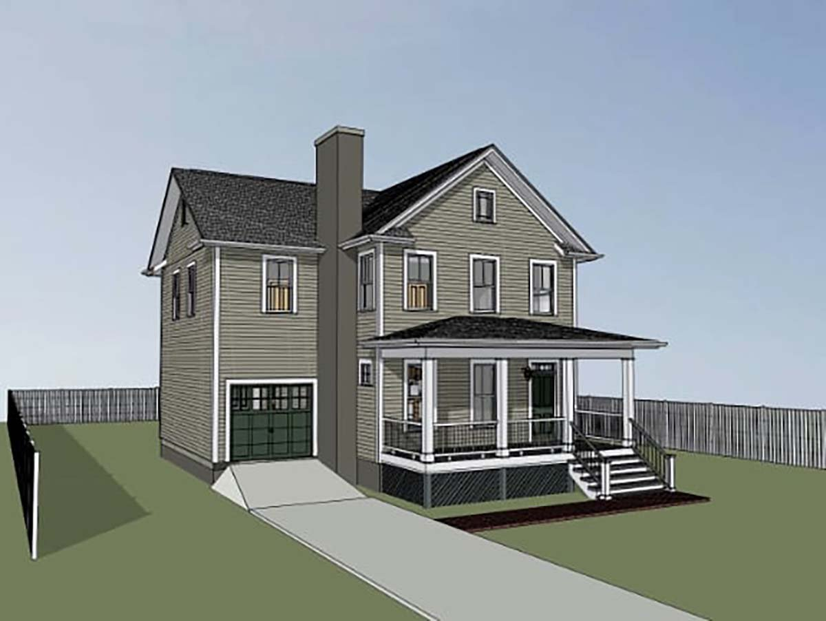 Colonial, Country, Narrow Lot, Southern House Plan 75579 with 4 Beds, 3 Baths, 1 Car Garage Picture 2