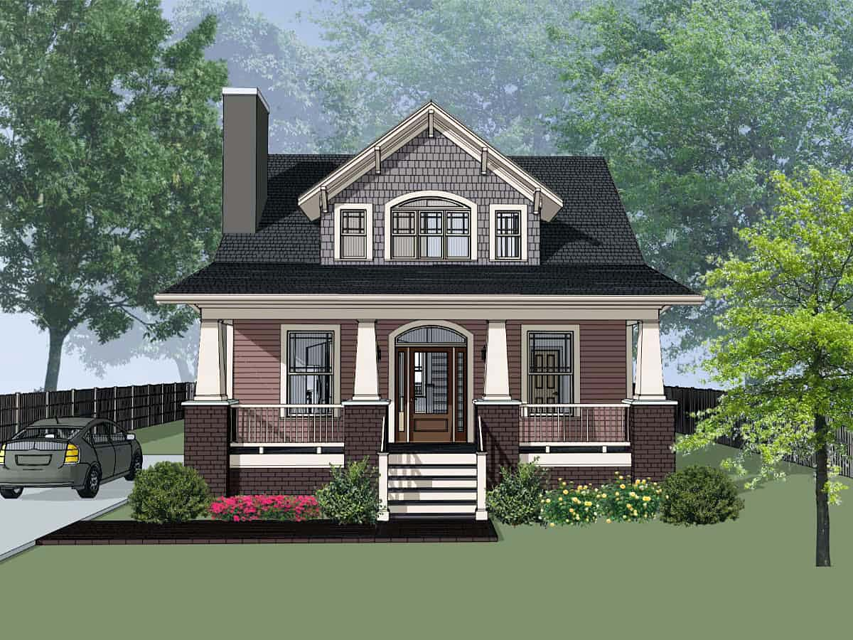 Bungalow, Cottage, Craftsman, Narrow Lot House Plan 75581 with 3 Beds , 2 Baths Elevation