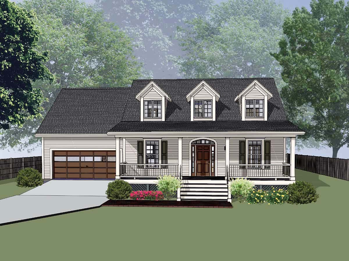 Colonial, Country, Ranch, Southern, Traditional House Plan 75583 with 3 Beds , 3 Baths , 2 Car Garage Elevation