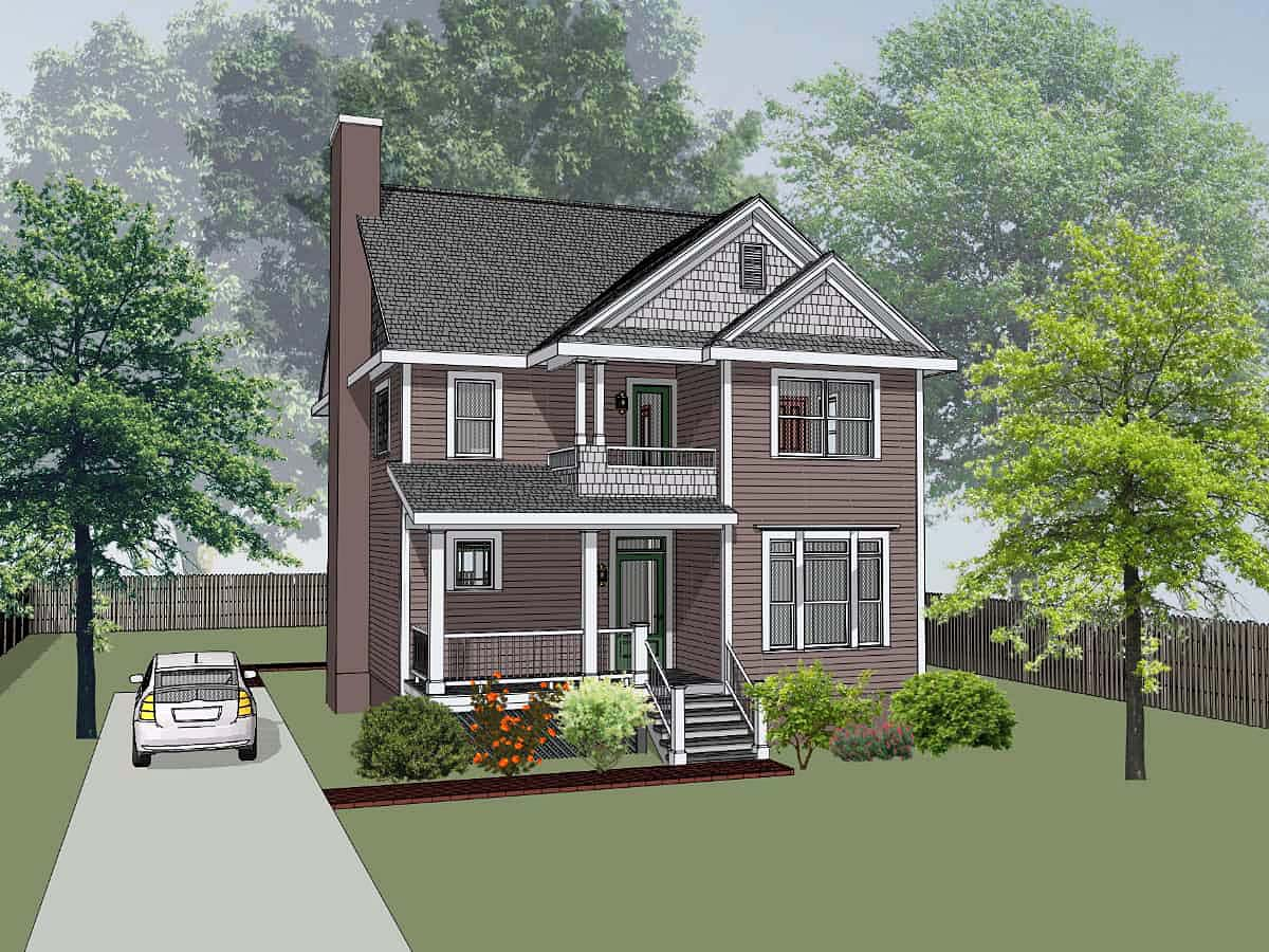 Narrow Lot, Southern, Traditional House Plan 75585 with 3 Beds , 3 Baths Elevation