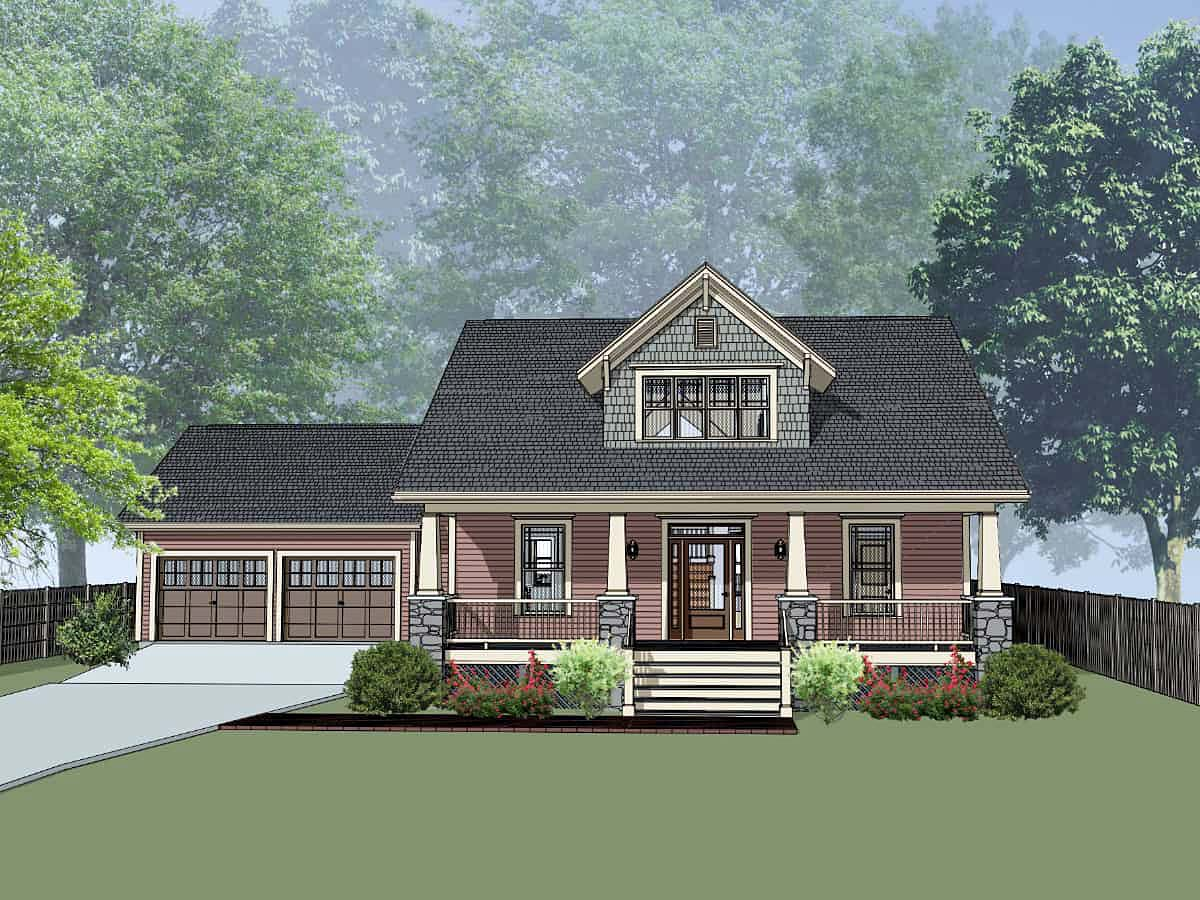 Bungalow, Cottage, Craftsman House Plan 75591 with 3 Beds , 3 Baths , 2 Car Garage Elevation